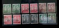 SOUTHERN RHODESIA 1937 DEFINS  12 USED VALUES  G069     Free Shipping