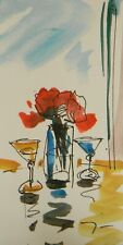 "JOSE TRUJILLO - ORIGINAL Watercolor Painting SIGNED Small 3x6"" Rose Martini Bar"