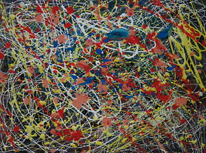 Fine art, Abstract Expressionist unique painting, signed, Jackson Pollock w DOCs