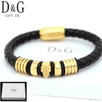 """DG Men's.Gold Stainless-S 8"""" Black Braided.Leather Magnetic Skull Bracelet*BOX"""