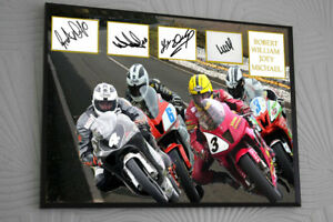 """Joey Robert William Michael Dunlop Framed Canvas Signed """"Great Gift"""""""