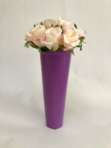 grave vase spike with flowers, purple & peachy pink artificial roses 23cm tall