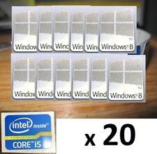 20 X Pegatina Libre equipo Windows 8 i5 i3 i7 Intel Inside Core PC 10 Genuino 7