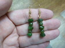 (ee404-52) 6 mm Green polar jade Canada bead faceted gemstone dangle earrings