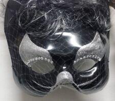 Maschera Mezzo Viso Gattina Nera e Argento con Capelli Lunghi Mossi Gatto Nero