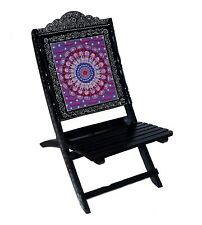 Indian Handmade Folding Chairs Wooden Patio Indoor Outdoor Furniture Chairs Art
