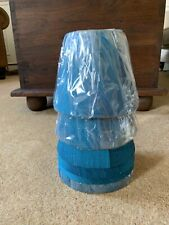 6 Candle Lamp Shades In Blue Silk