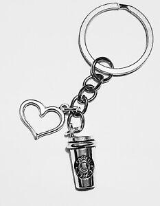 Love COFFEE Latte Costa Starbucks Girls Womans Keyring Keychain Bag Charm Gift