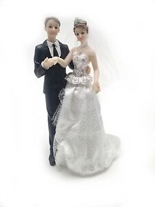 """10"""" bride and groom statue with fabric dress and veil white dress black tux"""