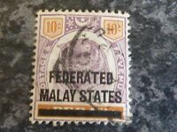 FEDERATED MALAY STATES POSTAGE & REVENUE STAMP SG10 10C VERY-FINE USED
