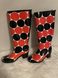 Kate Spade New York ~ Size 7 ~ Orange & Black Polka Dot Knee-High Rain Boots