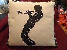 "Man Playing A Trumpet Scene Pillow Decor Down Stuffed Jazz/ Musician 17""x16""x9"""