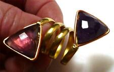 DOUBLE Amethyst Ring Brass, get the look of Gold Adjustable Band Sz 7 -12