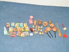 Lot of Vintage Dollhouse Miniature Kellogs Campbells Food Copper Pans + Other