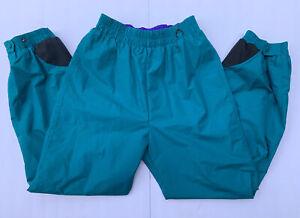 Columbia Womens Vintage Ski Pants Teal Purple Sz Medium Nylon Waterproof Elastic