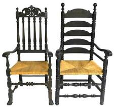 Two 20th C. reproduction armchairs with rush seats: Bannister back wit. Lot 57