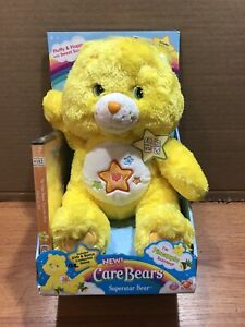 "Care Bears Superstar Bear 2006 12"" Includes DVD & CPU Game Fluffy & Floppy SEE"