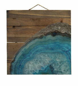 Blue Teal Geode Crystal - Decorative WOOD Wall Art