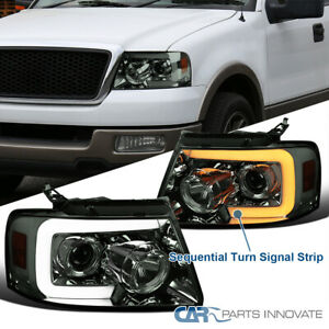 For 04-08 F150 Smoke Projector Headlights+ Switchback LED Sequential Signal Lamp