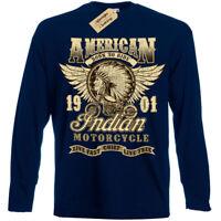 Chef Indien T-Shirt Motos Américain Motard T-Shirt Hommes Manches Longues