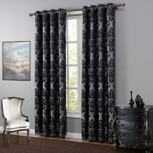 Thermal Insulated Blackout Curtains Jacquard Window Drape Panel Eyelets Top Home