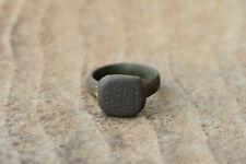 Antique medieval bronze ring with inscriptions UNIQUE!!!