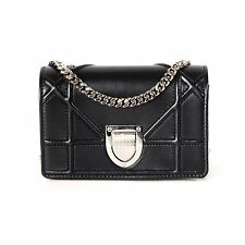 CHRISTIAN DIOR DIORAMA BLACK MINI CROSSBODY BAG LEATHER SILVER SHOULDER HANDBAG