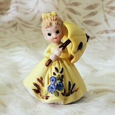 George Good April Showers Girl In Yellow Dress With Umbrella Porcelain Figure