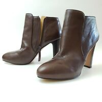 Nine West Gidran Ankle Boots Booties Heels Shoes Brown Leather Zip Womens 8.5 M