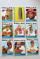 Lot of 9 1964 Topps PHILADELPHIA PHILLIES vintage baseball cards, High Numbers
