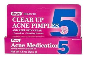 Rugby Acne Medication 5 Pimple Treatment Benzoyl Peroxide Gel 5% 1.5 oz / 42.5 g