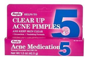 Rugby Acne Medication 5 Pimple Treatment Benzoyl Peroxide Gel 5% 1.5 oz / 42.5 g