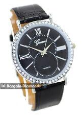 mens unisex silver tone white CZ clubbing designer watch black dial black strap