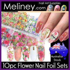 10pc Flower Nail Art Transfer Foils set sticker Nails Floral Summer Leaf Rose