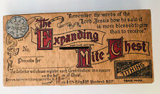 """Antique Little Tithing """"The Expanding Mite Chest"""" Graphic Novelty Tithe Box"""