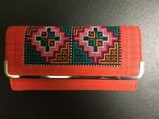 New Orange Unique Womens' Wallet Hmong Tribe Embroidered Fabric From Thailand