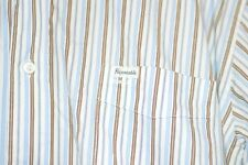 Mens FACONNABLE Stripe 2XL XXL Button Down Shirt Long Sleeve Blue Brown Stripes