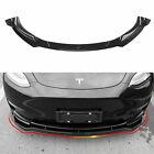 Fit  2020 2021 Tesla Model Y Front Bumper Lip Spoiler Accessories Glossy Black