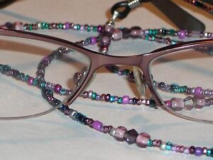 "Eyeglass Chain~Purple Mix~28""~Crystal Accents~Violet Teal Mix ~Buy 3 SHIP FREE"