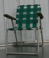 Vintage Mid Century Aluminum Child Size Folding Chair Lawn Patio Retro Green