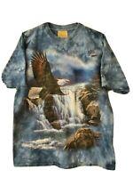 Vintage Mens The Mountain 2000 Tie Dye Bald Eagle Graphic T-Shirt L Blue Fishing