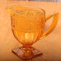 Vintage Indiana Glass Amber Daisy Creamer