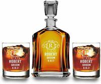 Personalize Decanter with 2 scotch glass set,Christmas Gift, whiskey lover gift