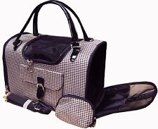 New Hounds-tooth Pet Cat Animal Carrier/Tote/Shoulder/Pur se Black/Brown-009