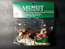 Vtg Midwest Importers Of Cannon Falls Santa & Sleigh Christmas Ornament New Nip