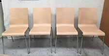 4 x KUADRA PEDRALI OAK ply TIMBER DINING CHAIRS  Made in Italy