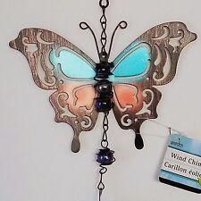Butterfly Wind Chime Bell Glass Metal Blue Garden Patio Windchime Pool Yard