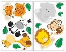 14-teiliges Dschungeltiere Wandtattoo Set Löwe Tiger Kinderzimmer Aufkleber