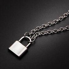 PadLock Necklace Lock Pendant Charm Silver Long Chain Necklaces Women Men Gift