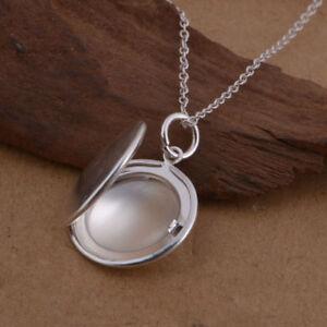 925 Silber Anhänger zum öffnen Medaillon Unisex für 2 Foto Medallion aufklappbar